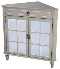 vivian 1 drawer 2 door corner cabinet with paned mirrored doors