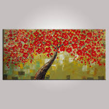flower tree painting floral painting bedroom wall art abstract