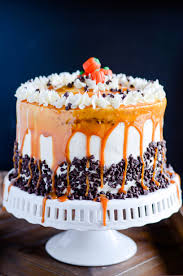 pumpkin chocolate layer cake with cream cheese frosting and