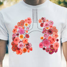 health effects smokefree gov chest with outline of lungs drawn on it with flowers blooming all over the lungs