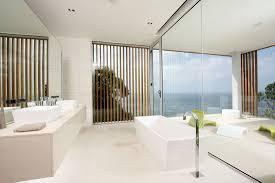 contemporary minimalist modern white bathroom with freestanding