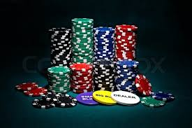 Big Blind Small Blind Stacks Of Chips For Poker With Buttons Of Dealer Small Blind And