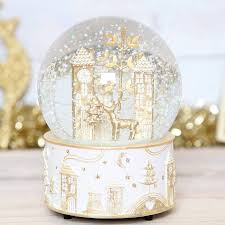 personalized snow globes gold deer musical