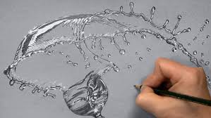 drawn water droplets splashing drawing pencil and in color drawn