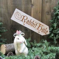rabbit hole lawn ornament sign alice in wonderland easter bunny
