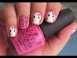 hello kitty nail art for short nails tutorial youtube nail