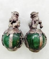 jade lion statue china miao silver green jade foo dog guardion lion sphere