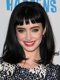blunt fringe hairstyles krysten ritter black medium hairstyles with blunt bangs