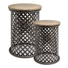 wood top pierced metal drum table christmas tree shops andthat