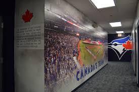 sports facility wall mural designs by oai visual branding toronto blue jays training facility in dunedin