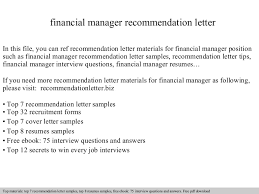 financial manager recommendation lettermba recommendation letter