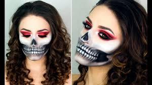 half skull make up tutorial easy halloween costume youtube