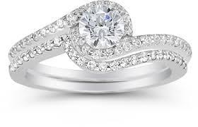 engagement rings set cubic zirconia swirl engagement ring set