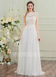 chiffon wedding dress a line princess scoop neck sweep chiffon wedding dress with