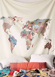Headboard Wall Decor by Amazon Com Floral World Map Wall Tapestry Headboard Wall Art