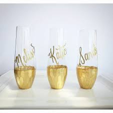 gold dipped gold dipped stemless chagne flutes glass personalized