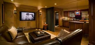 l shaped couch basement traditional with bar brown leather