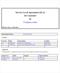 Service Level Agreement Template 14 service level agreement templates free word pdf documents