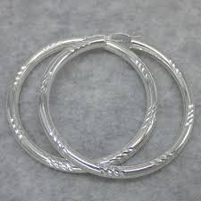 large silver hoop earrings large chunky hoop earrings 60mm x 4mm sterling silver free