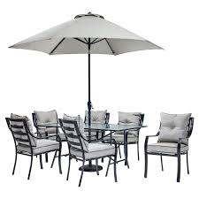 Patio Furniture 7 Piece Dining Set - hanover lavallette 7 piece outdoor dining set with table umbrella