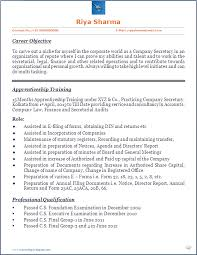 Cs Resume Resume Blog Co Company Secretary Cs Trainee U0027s Beautiful Resume