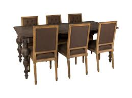 barn wooden dining table for 6 with tufted backseat dining chairs