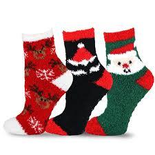 fuzzy christmas socks teehee christmas cozy fuzzy crew socks 3 pack for kids santa