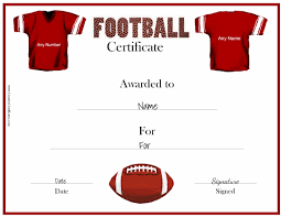 Participation Certificate Templates Free Download Free Custom Football Certificates