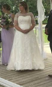 wedding dress size 16 david s bridal lace a line 600 size 16 un altered