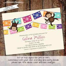 monkey baby shower invitation fiesta papel picado mexican gender