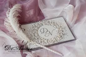 guest book and pen set wedding guest book and pen pearls wedding guestbook white