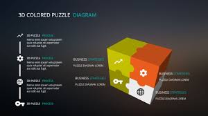 free powerpoint template with 3d cube and puzzle elements