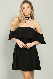 flounce off the shoulder skater dress shop dresses at papaya