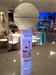 basketball centerpieces combo white party and basketball party basketball centerpieces