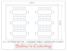 8 foot long table here is a top view of a basic tent layout of a 20x30 tent this