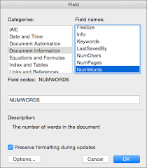 Count Word In Document Insert The Word Count In Your Document In Word 2016 For Mac Word