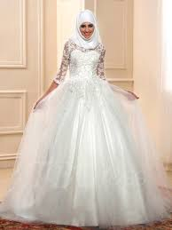 lace 3 4 sleeve wedding dress appliques 3 4 length sleeve muslim wedding dress tbdress com