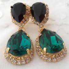 Long Chandelier Earrings Dangle Earrings Shop Green And Gold Chandelier Earrings On Wanelo
