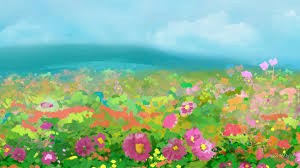 flower floral field spring colorful summer sky pretty garden paint