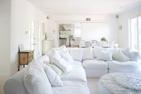 white slipcovered sofa living room scandinavian with dark gray