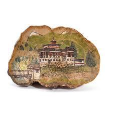 Mushroom Home Decor by Vintage Hand Painted Petrified Tree Mushroom Art From Bhutan