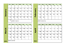 printable calendar multiple months 2016 yearly calendar two page free printable templates
