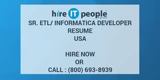 Sample Etl Testing Resume by Sr Etl Informatica Developer Resume Hire It People We Get It Done