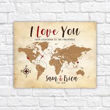 Personalized World Travel Map by Personalized Wedding Gift Travel Map Destination Wedding I Love