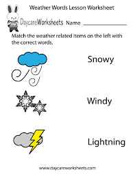 free preschool weather words lesson worksheet