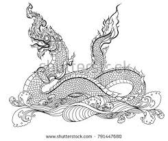 naga tattoo thailand hand drawn thai dragon on water stock vector 2018 791447680