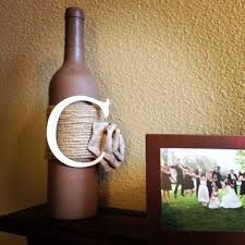 burlap covered letters easy diy wine bottle craft all i did was paint a bottle with