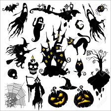 halloween vector art set of vector illustrations halloween scary theme royalty free