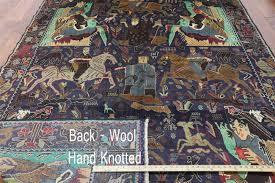 7 X 9 Wool Rug Tribal Pictorial Navy Blue 7 U0027x9 U0027 Afghan Hand Knotted Wool U0026 Wool