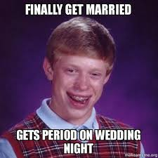 Purple Wedding Meme - finally get married gets period on wedding night bad luck brian